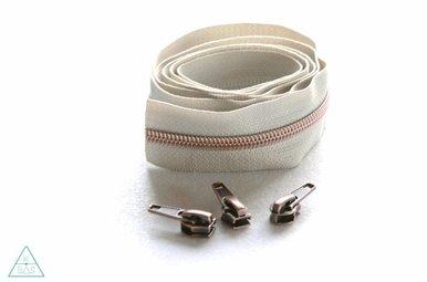 Niet-deelbare spiraalrits 100cm - Beige met koper
