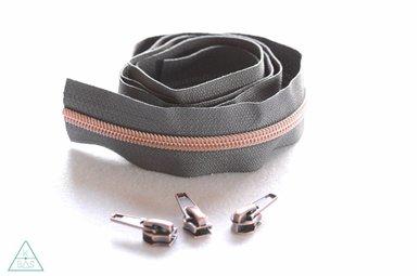 Niet-deelbare spiraalrits 100cm - Grijs met koper