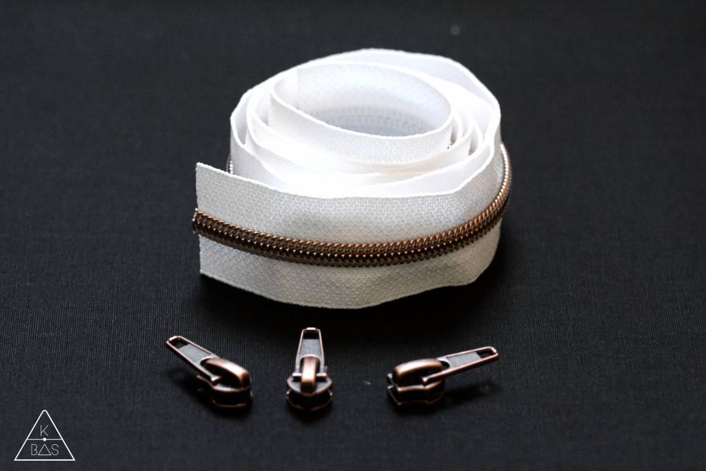 Niet-deelbare spiraalrits 100cm - Wit met koper