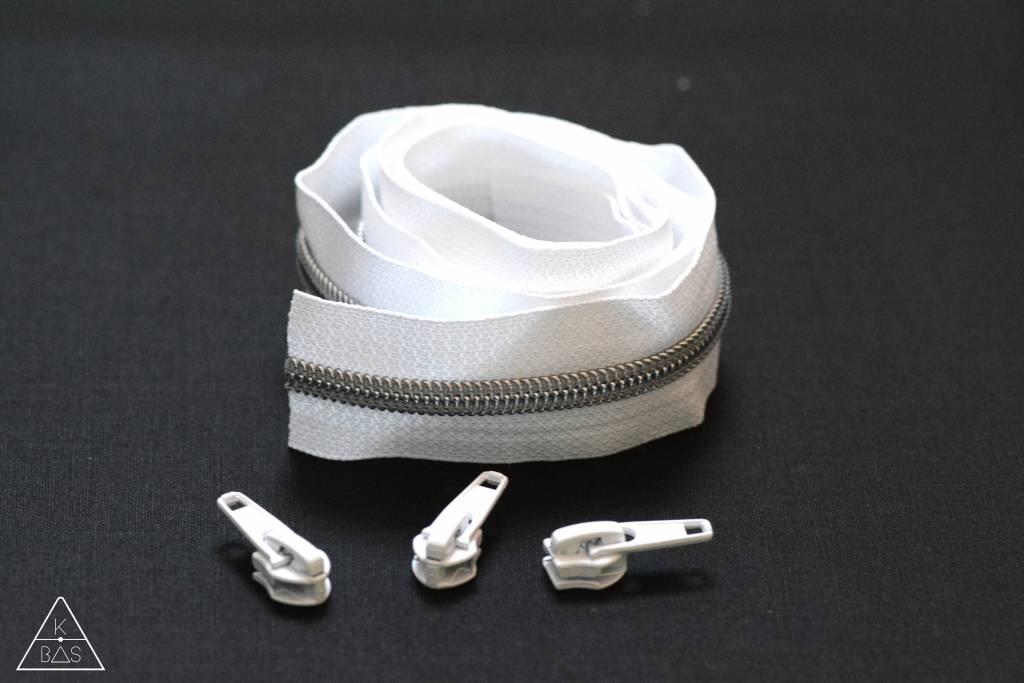 Niet-deelbare spiraalrits 100cm - Wit met zilver