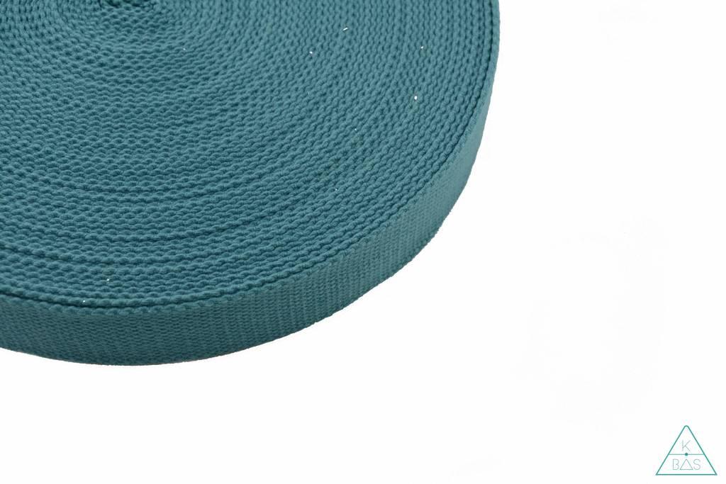 Katoenen tassenband Donker turquoise 25mm