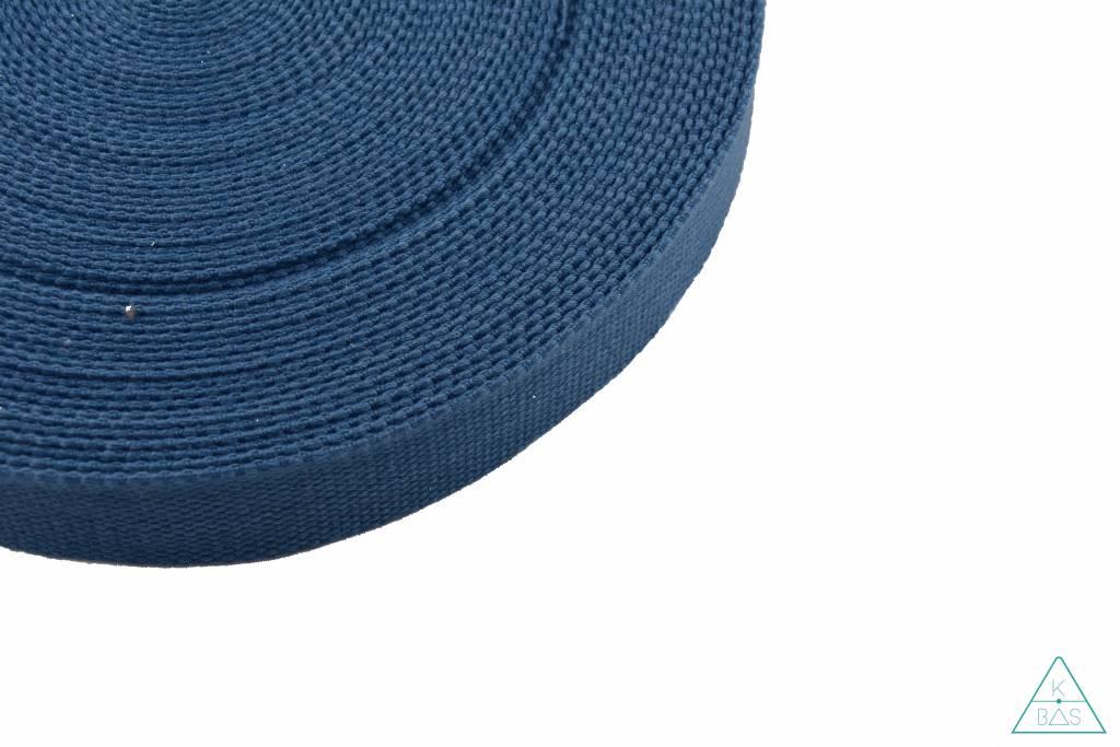 Katoenen tassenband Jeansblauw 25mm