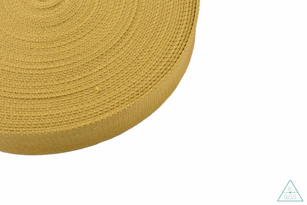 Katoenen tassenband Mosterdgeel 25mm