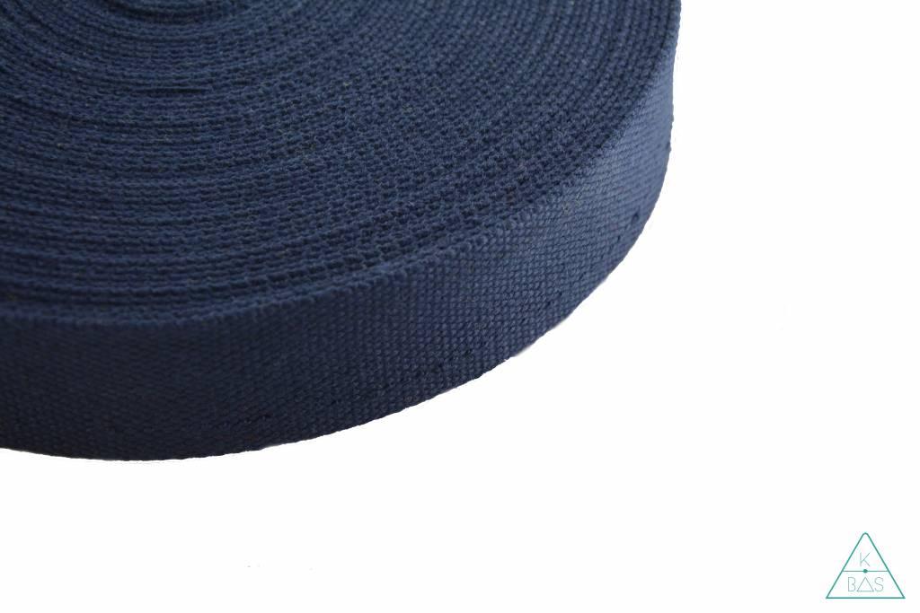 Katoenen tassenband Donkerblauw 25mm