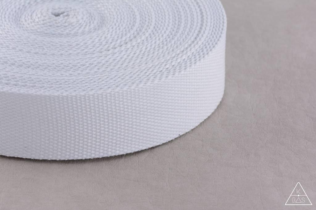 Katoenen tassenband Wit 25mm