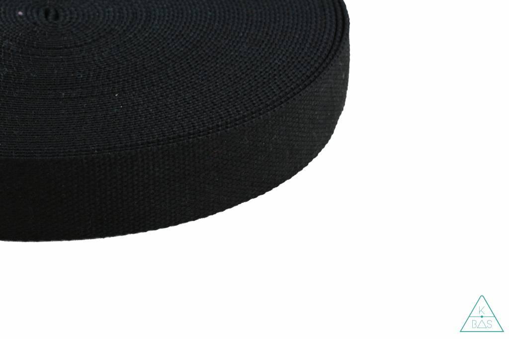 Katoenen tassenband Zwart 38mm