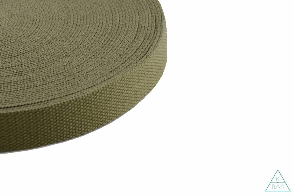Katoenen tassenband Kakigroen 25mm