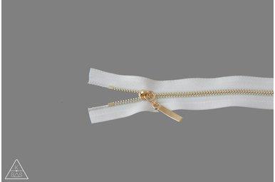 Metalen rits Lichtgoud 25cm Ivoor