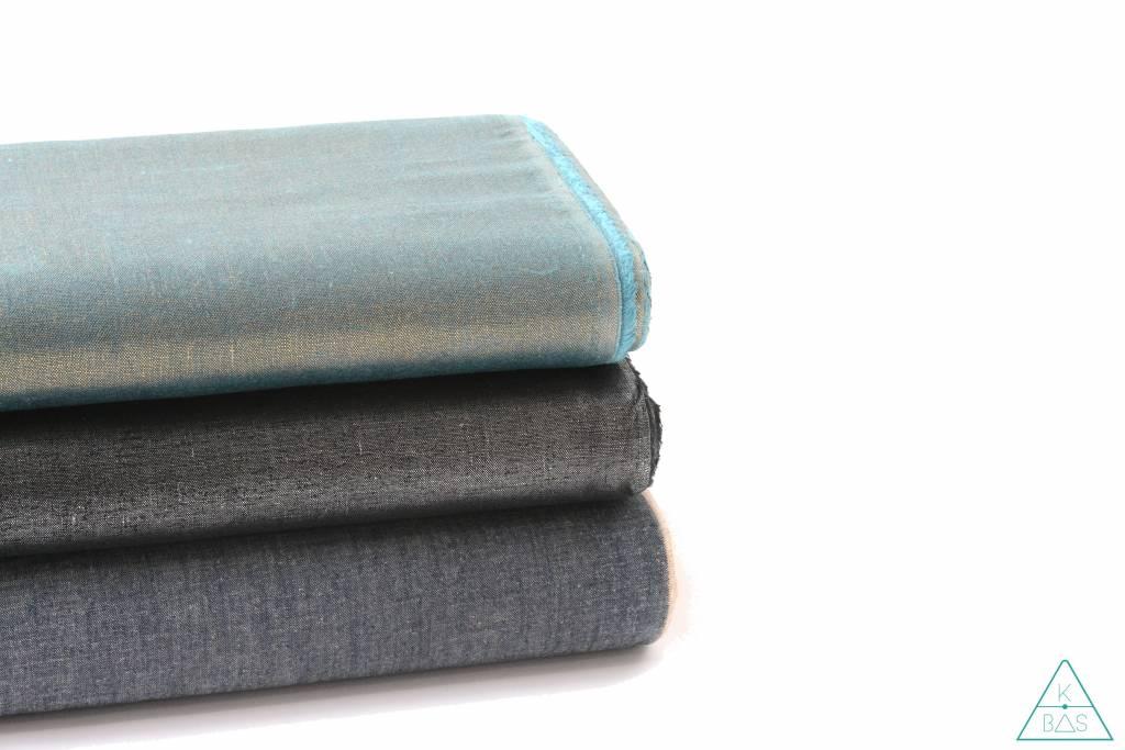 ALFrances Handwaxed metallic linnen,  Zwart met zilver