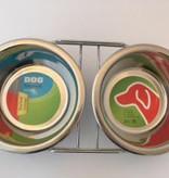Voerbak en drinkbak  in houder 2x 550 ml.