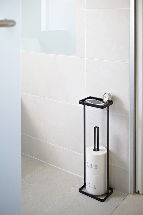 Toilet Paper Holder Open Tower Black Yamazaki
