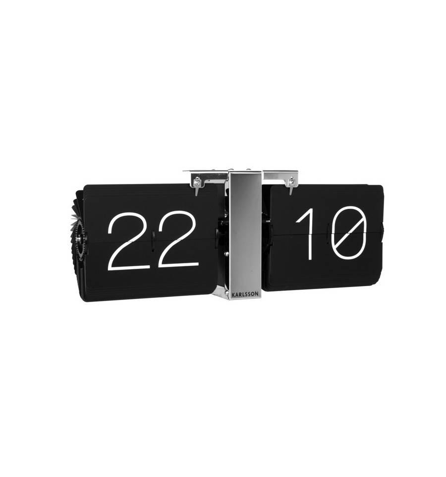 Design Clocks Flip Clock No Case Black Chrome