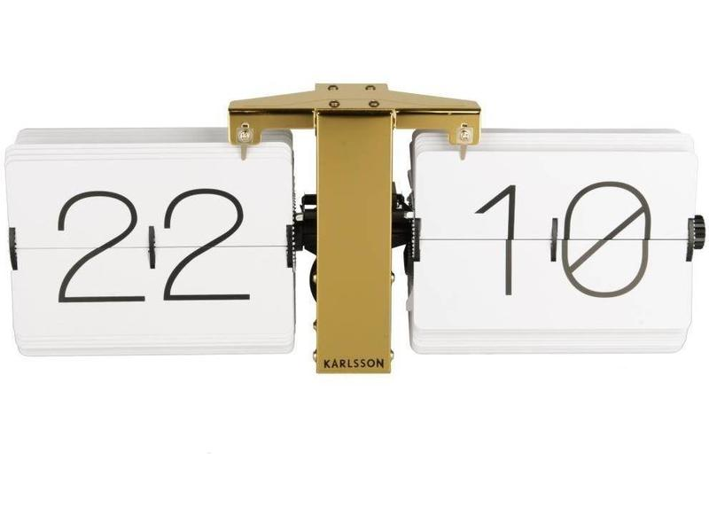 Karlsson Flip Clock 'No Case' (white/brass)