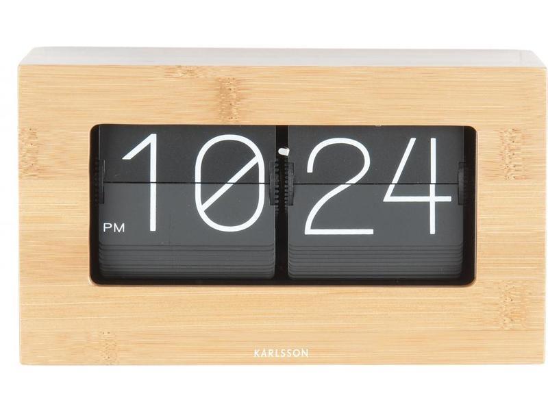 Karlsson Horloge de Table 'Flip Clock Boxed Bamboo'