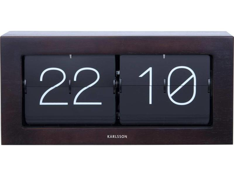 Karlsson Horloge Flip Clock 'Boxed XL' (dark wood)