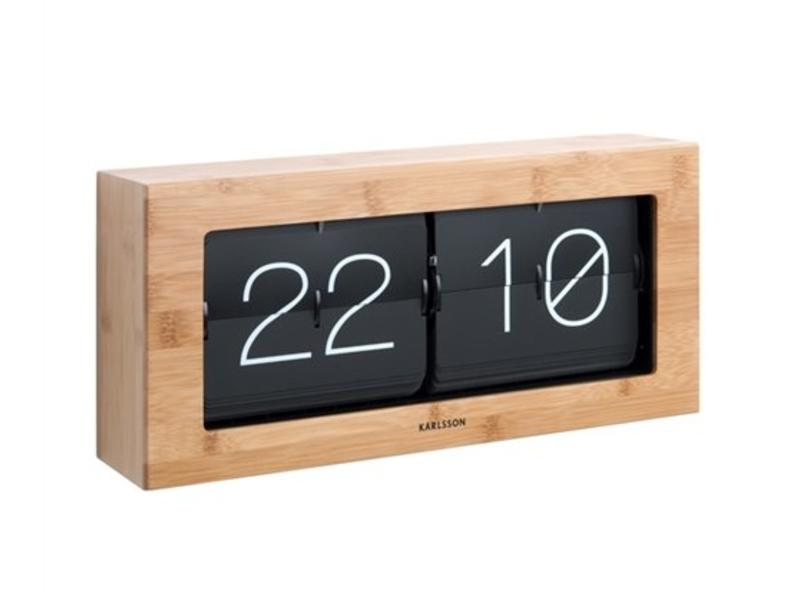 Karlsson Horloge Flip Clock 'Boxed XL' ((bamboo)