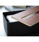 Yamazaki  Tissue Case 'Rin' (brown/black)