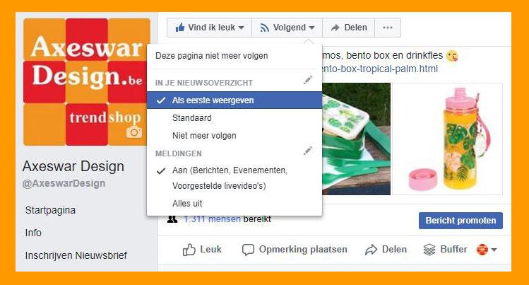 Axeswar Design blijven zien op Facebook tijdlijn