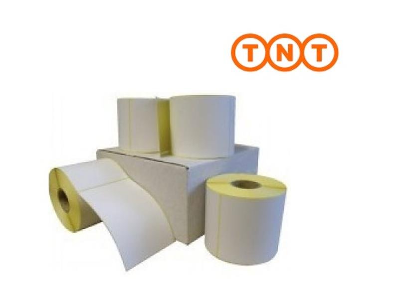 12 rollen TNT verzendetiket 102x150 mm. Kern 25 mm. 300/rol