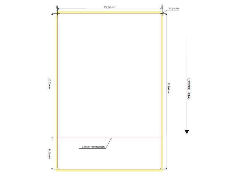 10 rollen labels - 100x150 met horizontale slit op 30mm.