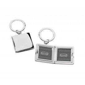 EDZARD Edzard Schlüsselanhänger Quadro mit Fotorahmen Bilderrahmen versilbert und anlaufgeschützt Höhe ca. 8 cm
