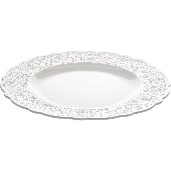 ALESSI Dressed Speiseteller 4er Set aus weißem Porzellan mit Reliefdekor von ALESSI