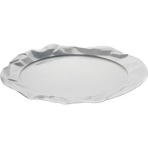 Foix Tablett, rund aus Stahl, epoxidharzlackiert, Milky White