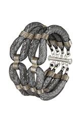 Karelian Silver Black Double Clove Cuff Bracelet