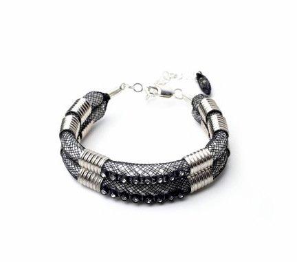 Karelian Silver Two Piece Cuff Bracelet With Crystal Trim
