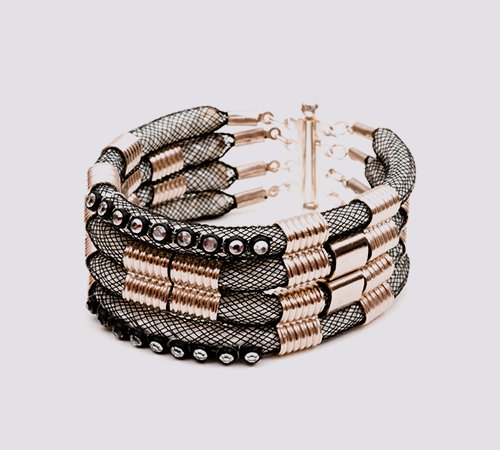 Karelian Silver Four Piece Cuff Bracelet With Crystal Trim