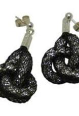 Bláithín Ennis Topaz Silver Black Knot Earrings
