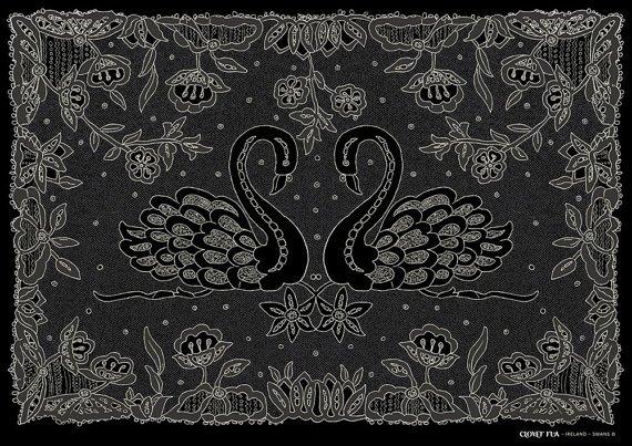 Swans Irish Lace  A4 Print