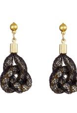 Bláithín Ennis Topaz Gold Black Knot Earrings