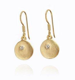 Gold disc drop earrings
