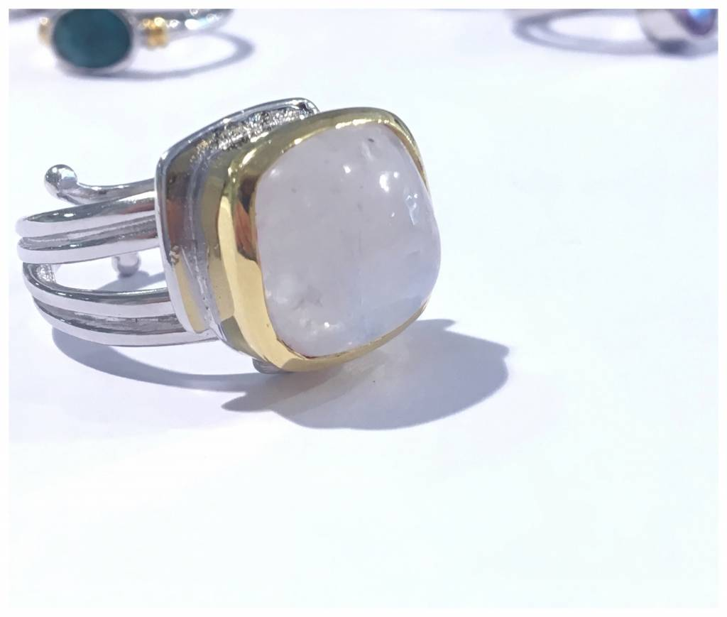 Art Deco Ring with Moonstone
