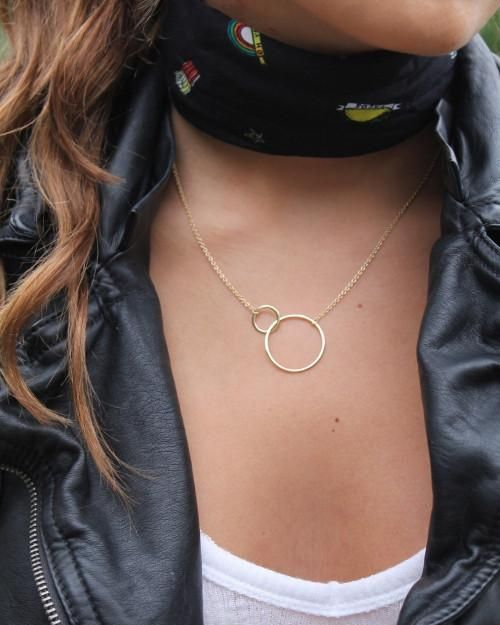 Gold Vermeil Large 2 Circle Necklace