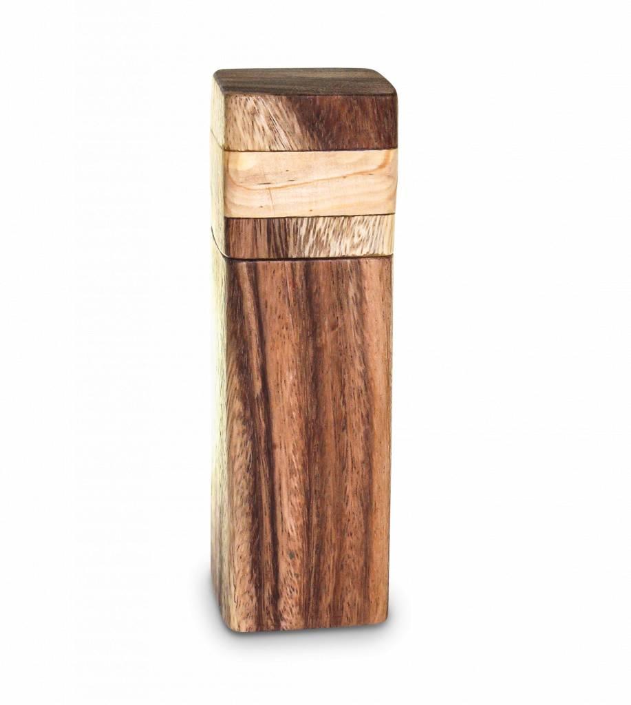 handgemaakte fair trade peper- of zoutmolen - hout