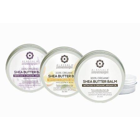 Alassala Shea boter balm 100% biologisch argan olie Lavendel - 50 ml