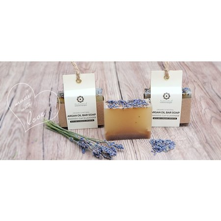 Alassala Zeepblok Rhassoul klei & lavendel Argan olie zeep Biologisch- 100 gram