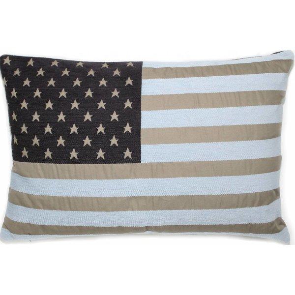 bootkussen club USA taupe-lichtblauw