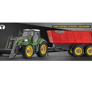 Ninco Bestuurbare tractor met shovel en aanhanger 1:28