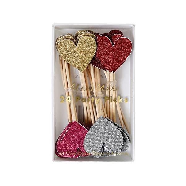 Glitter heart party picks