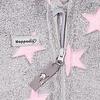 Hoppediz HOPPEDIZ Fleece Overall Grijs met Roze Sterren