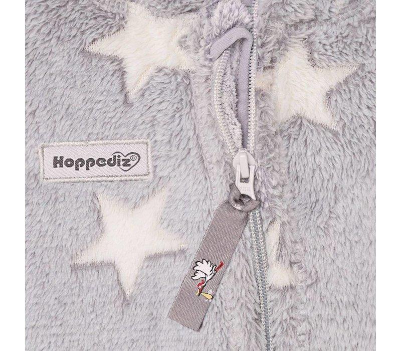 HOPPEDIZ Fleece Overall Grijs met Witte Sterren