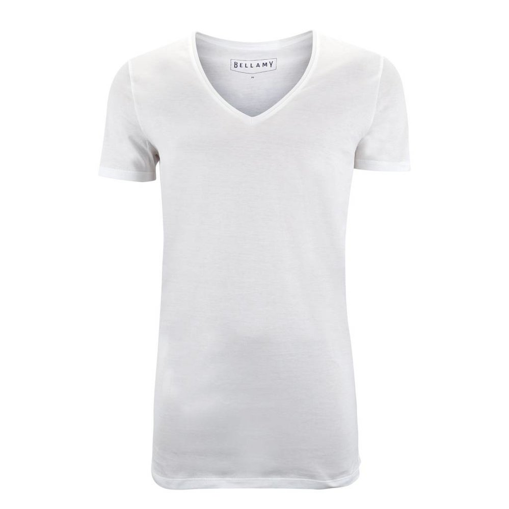 Diepe v-hals extra lang t-shirt, 100% katoen