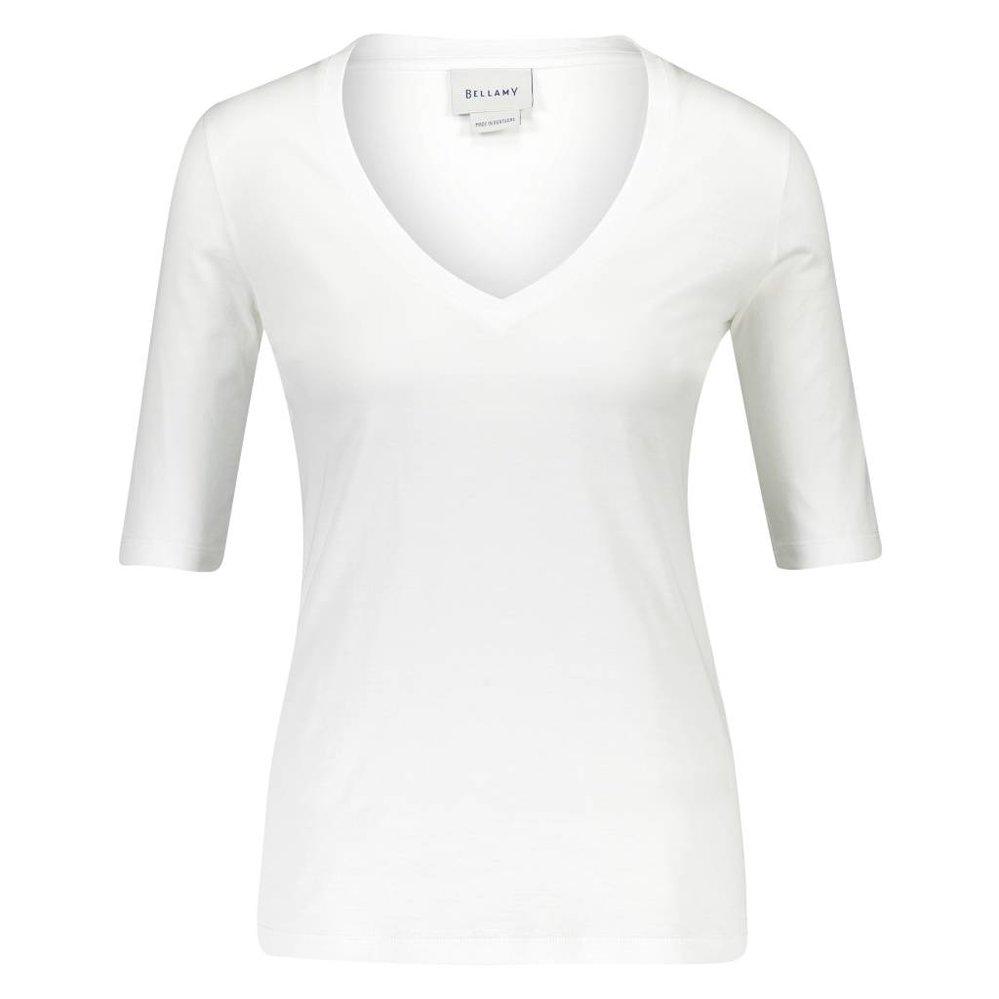 Vrouwelijk diep v-hals t-shirt met Franse mouw