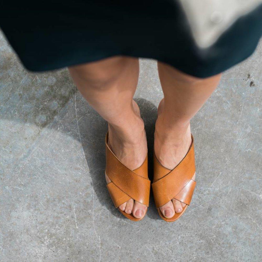 Italiaans leren plateau slipper