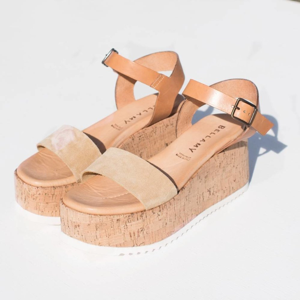 Elegante plateauzool sandaal 100% leather & suede