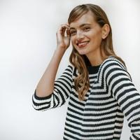 Emma vrouwen katoenen trui blauw streep