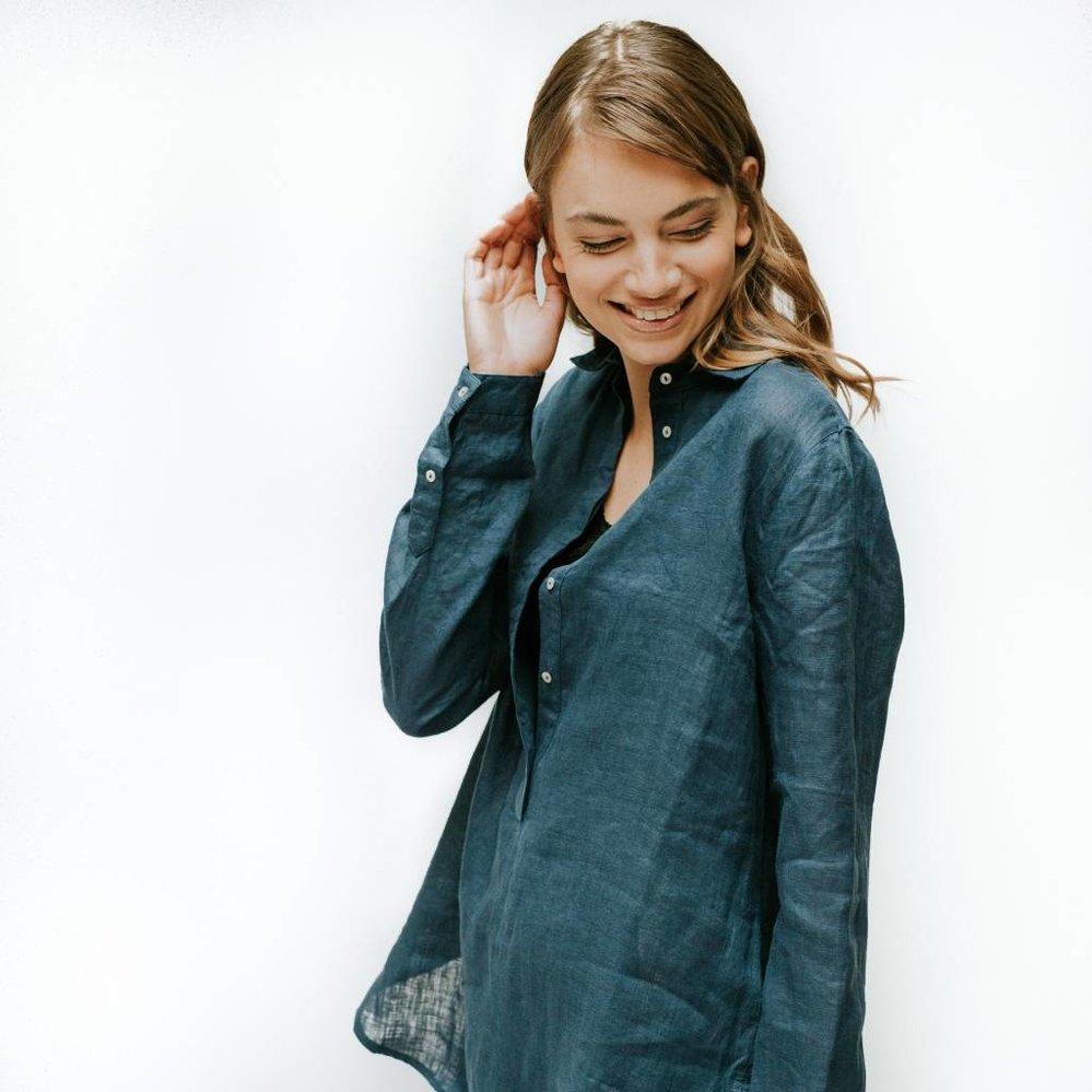 Feminine diepe placket tuniek linnen streep